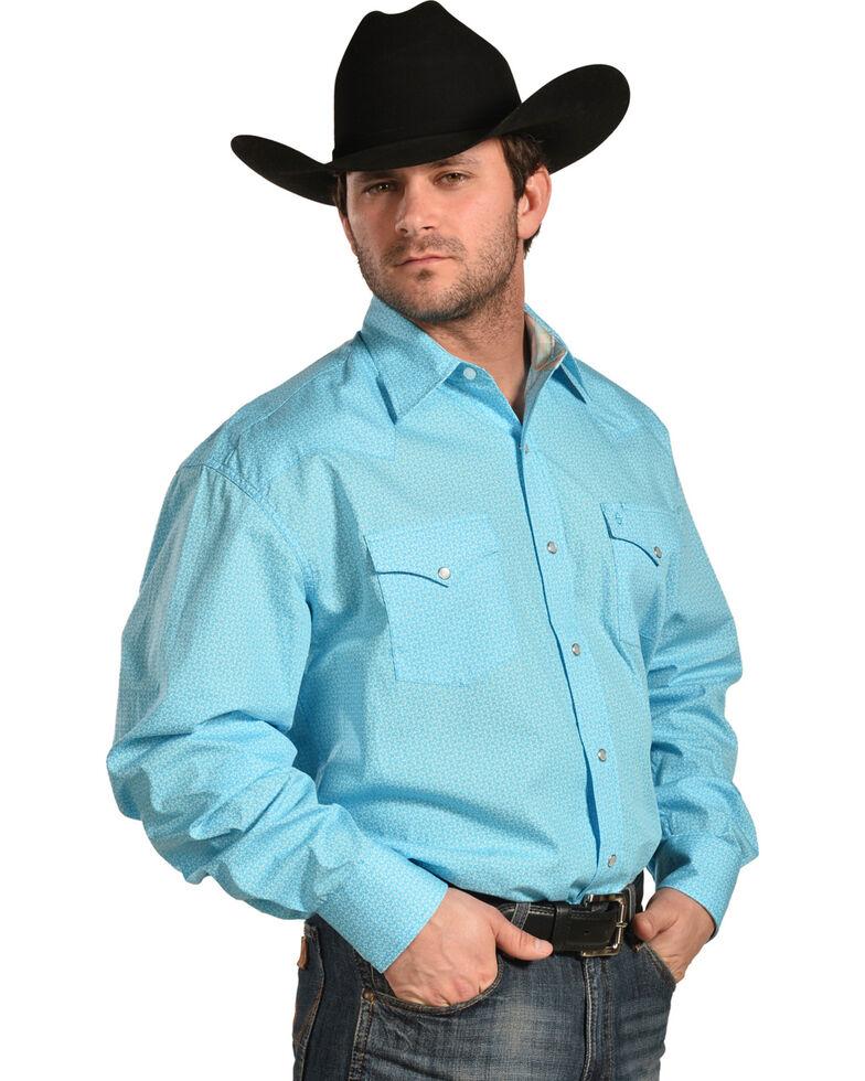 Stetson Men's Blue This And That Print Shirt , Blue, hi-res