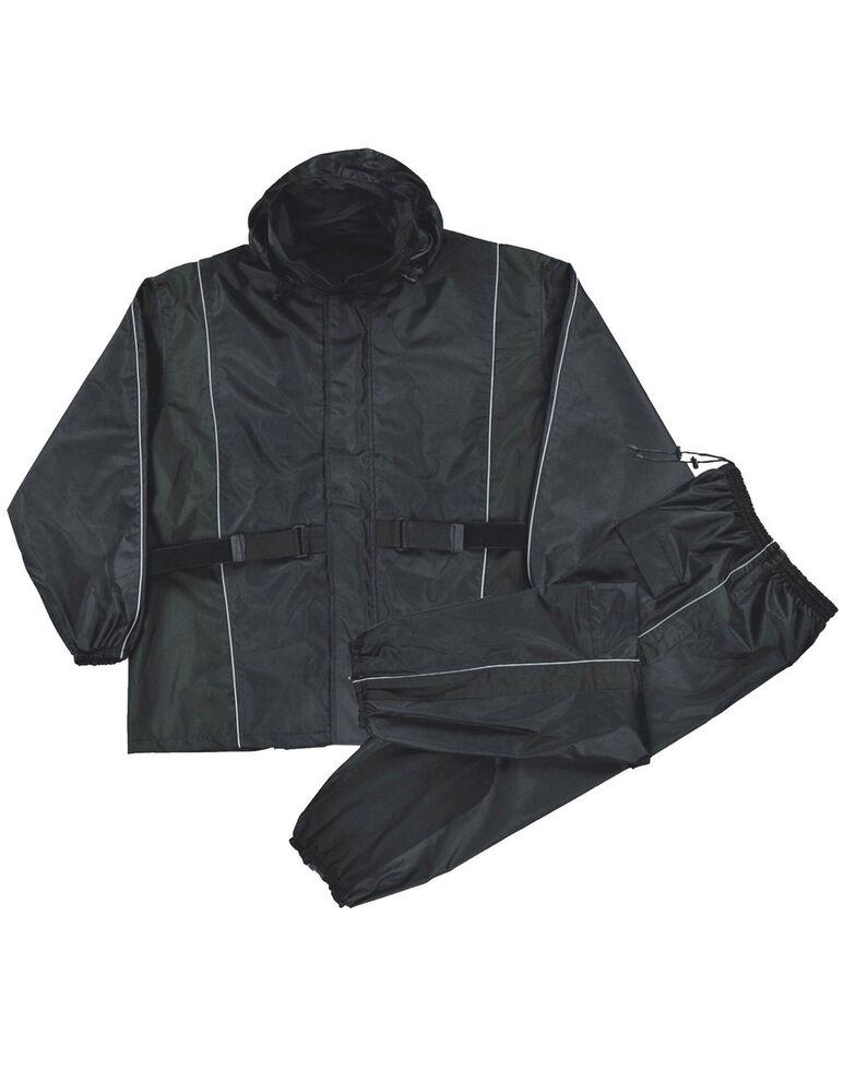 Milwaukee Leather Men's Reflective Heat Guard Waterproof Rain Suit, Black, hi-res