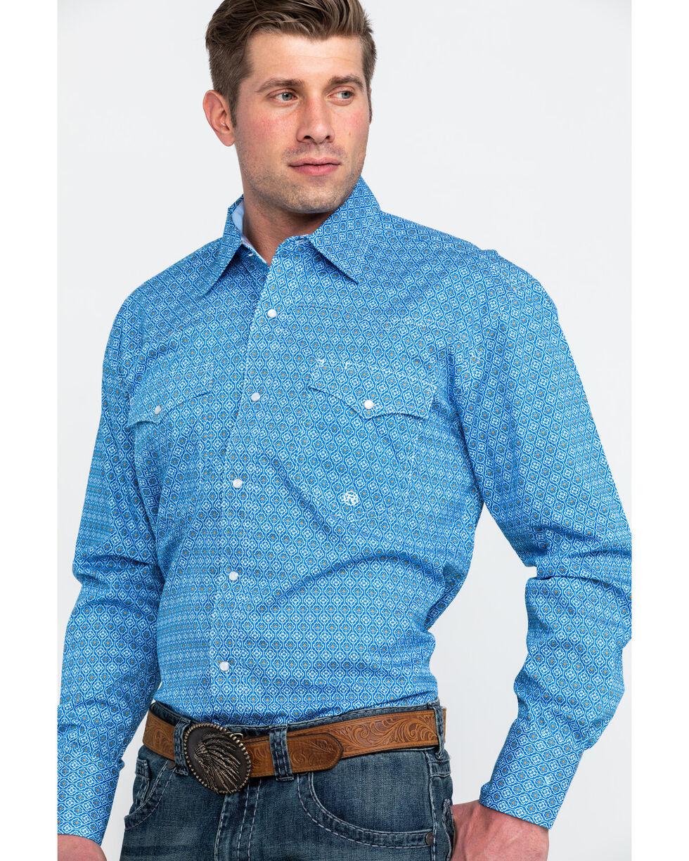 Roper Men's Blue Amarillo Geo Print Long Sleeve Western Shirt , Blue, hi-res