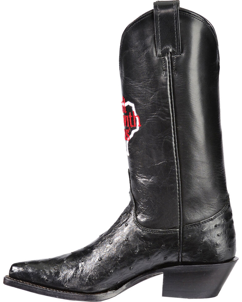 """Justin Women's """"Don't Mess With Texas"""" Full Quill Ostrich Exotic Boots, Black, hi-res"""