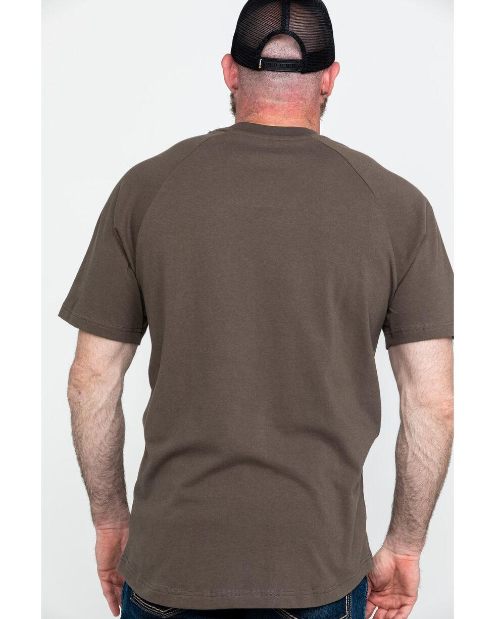 Ariat Men's Brown Rebar Cotton Strong Short Sleeve Crew Work Shirt , Brown, hi-res