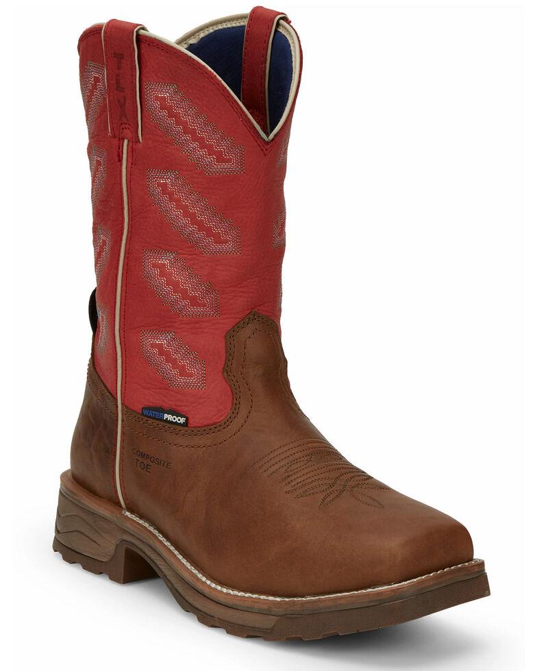 Tony Lama Men's Energy Waterproof Western Work Boots - Composite Toe, Brown, hi-res