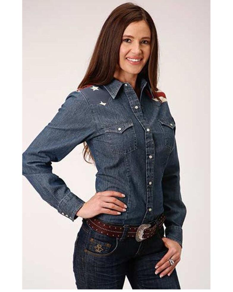 Old West Women's Denim American Flag Yoke Long Sleeve Western Shirt, Blue, hi-res