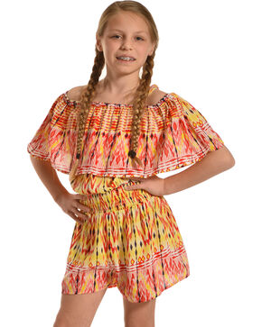 Derek Heart Girls' Ruffled Peasant Romper , Multi, hi-res