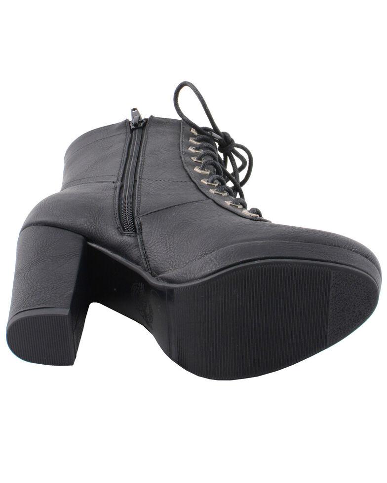 Milwaukee Leather Women's Lace Toe Toe Platform Boots - Round Toe, Black, hi-res