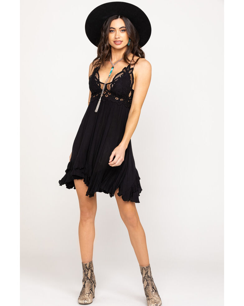 Free People Women's Black Adella Slip Dress, Black, hi-res