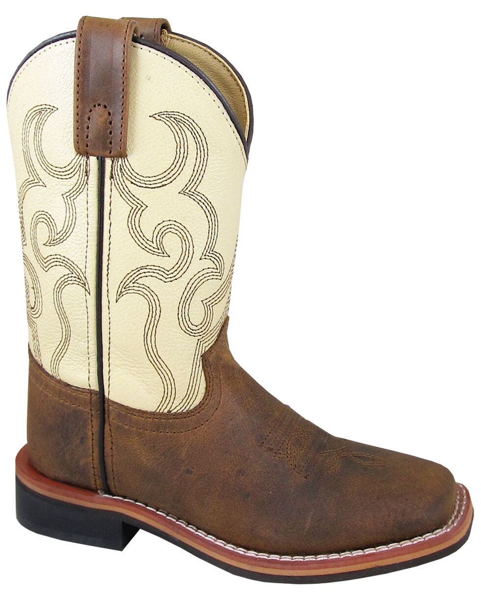 Smoky Mountain Kids' Scout Western Boots - Square Toe, Cream/brown, hi-res