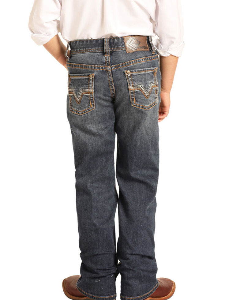 Rock & Roll Denim Boys' Reflex Dark Stretch Bootcut Jeans , Blue, hi-res
