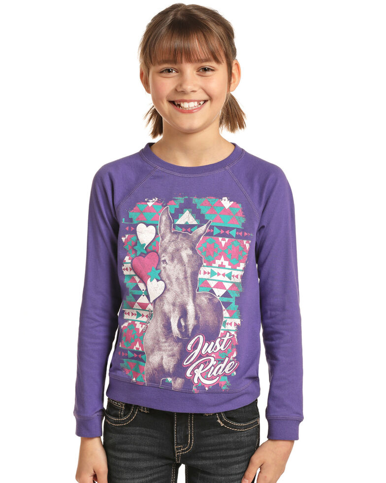 Rock & Roll Cowgirl Girls' Purple Just Ride Long Sleeve Sweatshirt Tee, Purple, hi-res