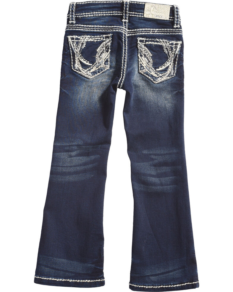 Grace in LA Girls' Dark Wash Abstract Bootcut Jeans , Indigo, hi-res