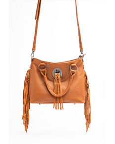 Shyanne Women's Tan Kinsey Fringed Concho Leather Satchel Handbag, Tan, hi-res