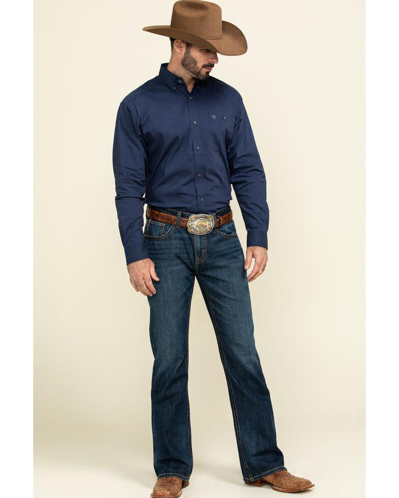 Ariat Men's Blue Air Flow Stretch Long Sleeve Western Shirt , Blue, hi-res