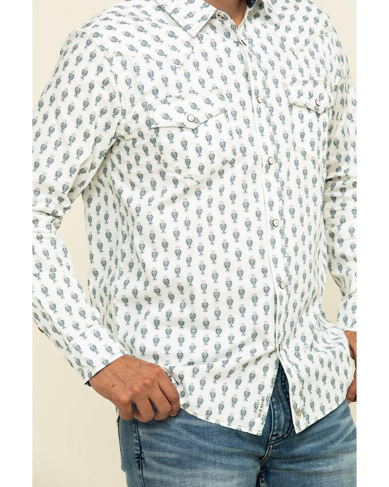 Moonshine Spirit Men's Tibal Mini Paisley Print Long Sleeve Western Shirt , White, hi-res