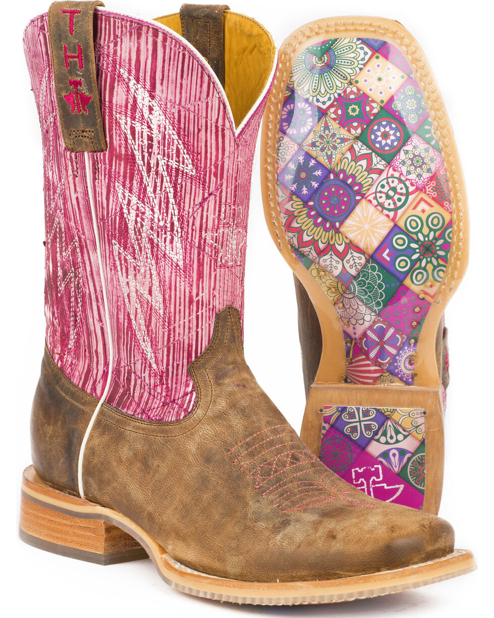 Tin Haul Women's Light & Bright Mosaic Sole Cowgirl Boots - Square Toe, Tan, hi-res