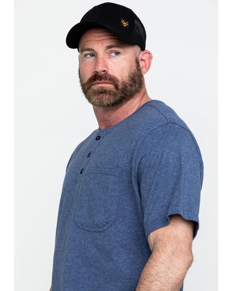 Hawx Men's Pocket Henley Short Sleeve Work T-Shirt - Tall , Heather Blue, hi-res