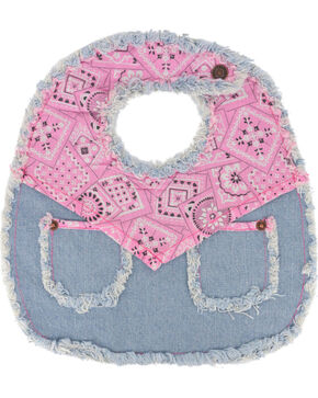 Baby Korral Infant's Paisley and Denim Bib, Pink, hi-res