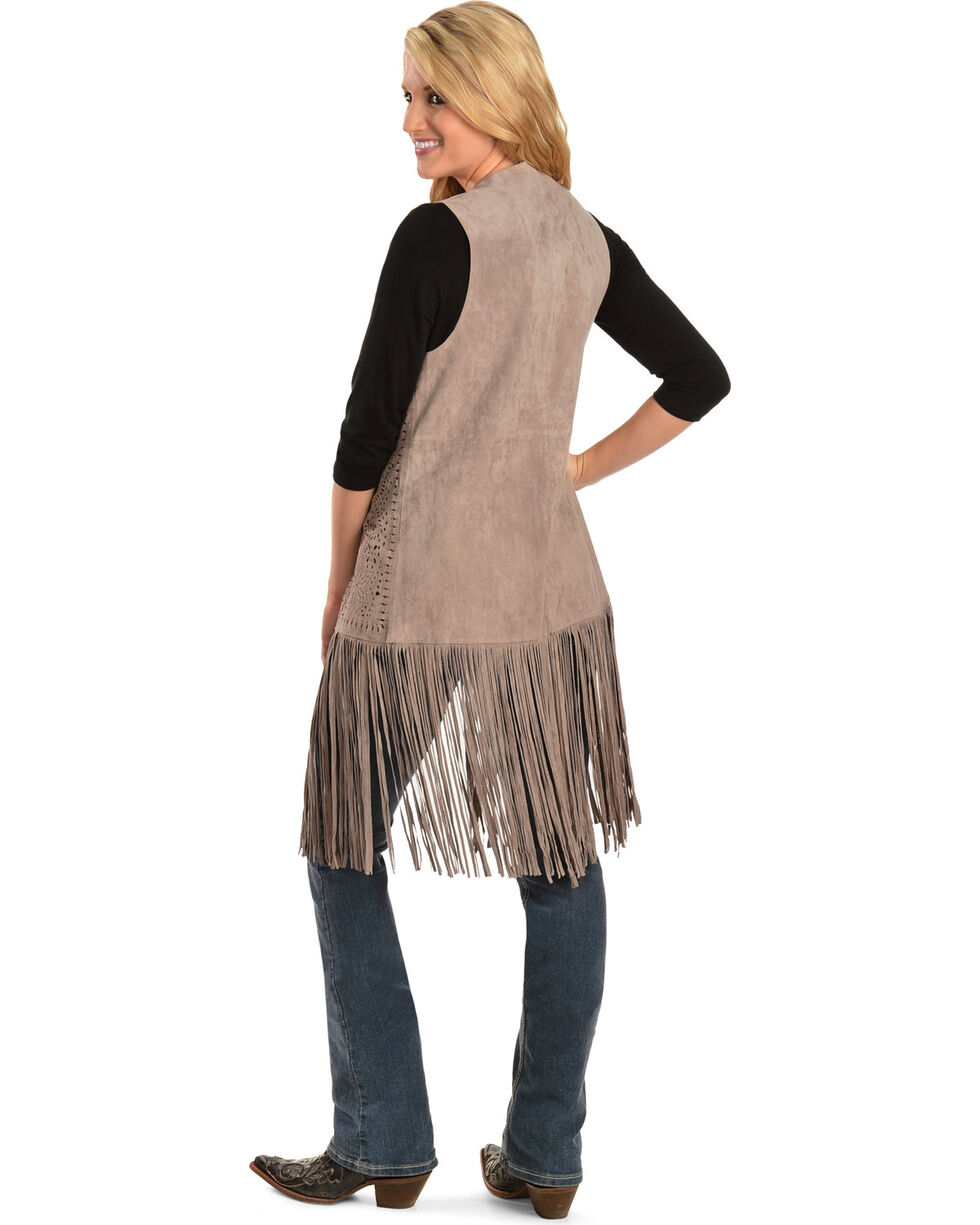 Scully Women's Long Suede Fringe Vest, Taupe, hi-res