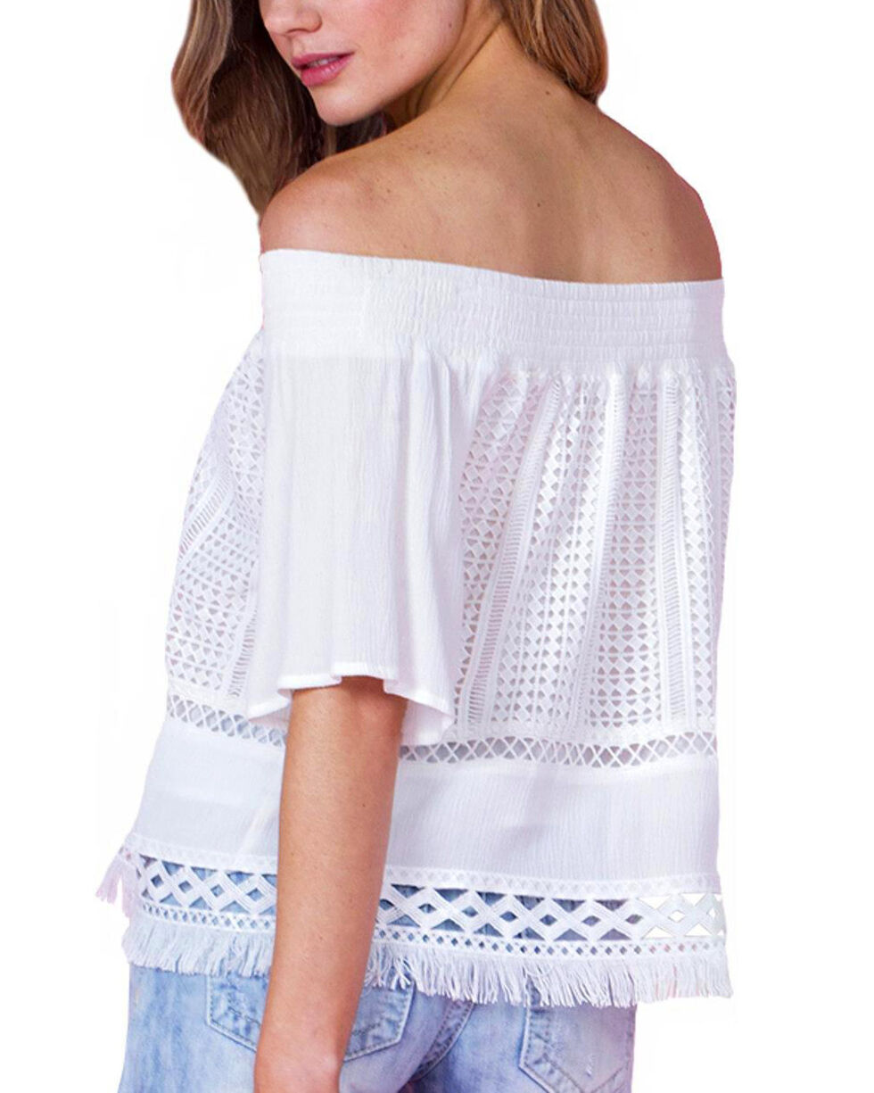 Miss Me Women's In Your Dreams Off The Shoulder Top, Ivory, hi-res