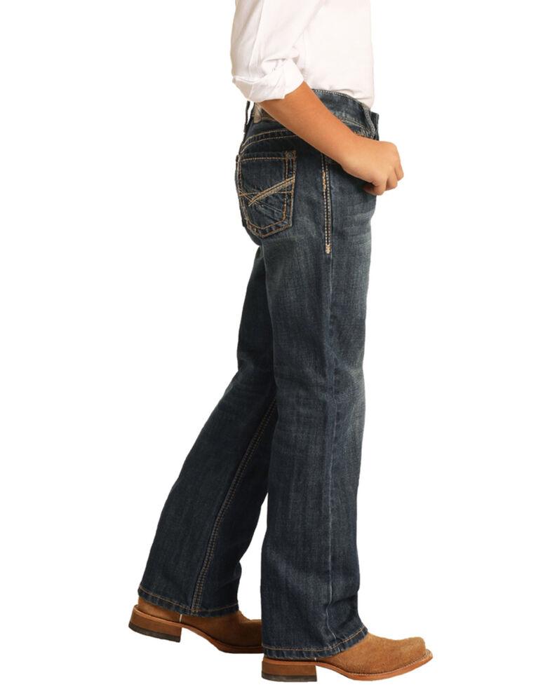 Rock & Roll Denim Boys' Dark Vintage Reflex Stretch Bootcut Jeans , Blue, hi-res