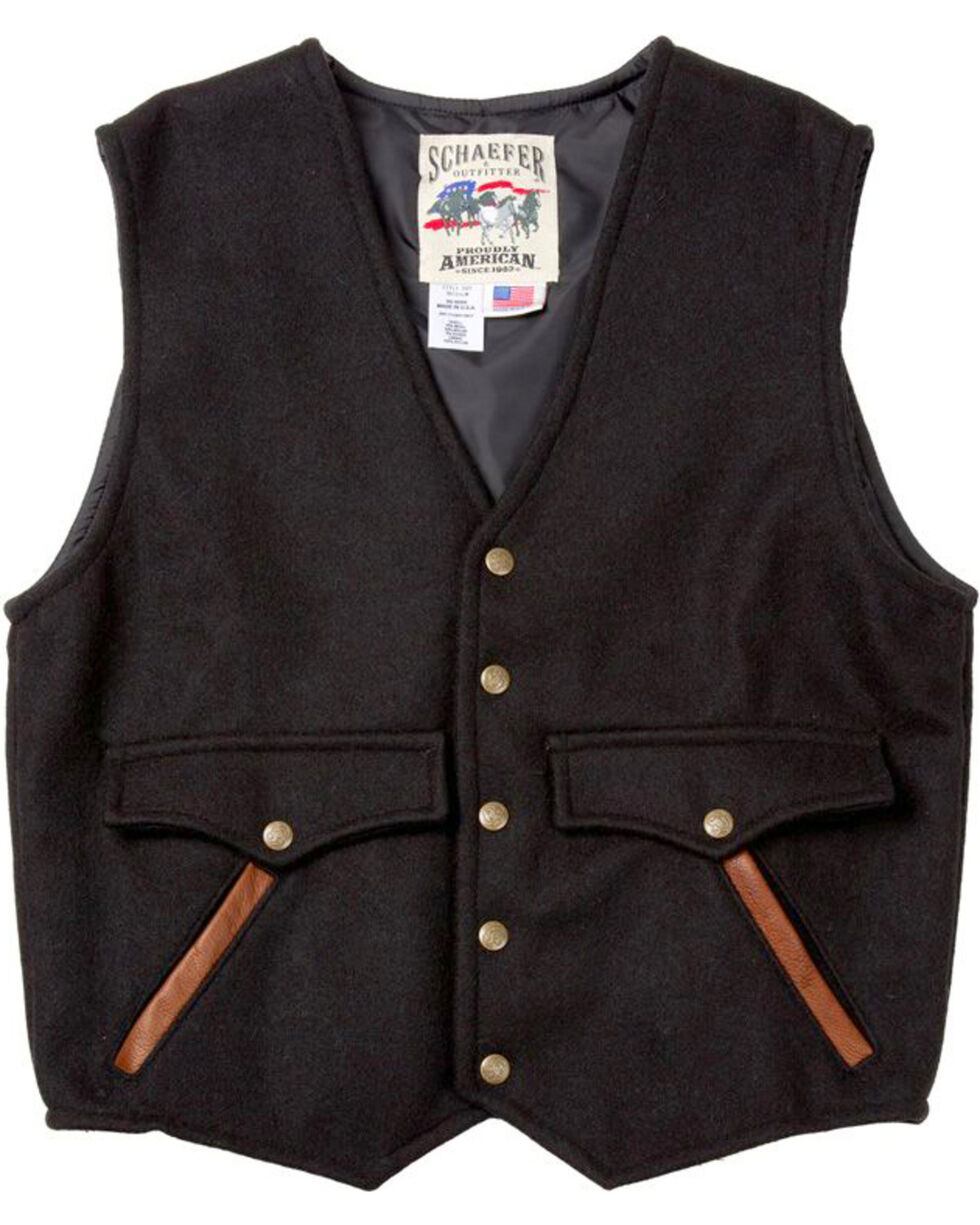 Schaefer Outfitter Men's Black Stockman Melton Wool Vest , Black, hi-res