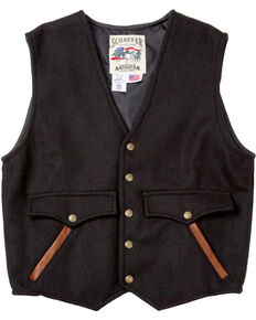 Schaefer Outfitter Men's Black Stockman Melton Wool Vest - 2XL, Black, hi-res