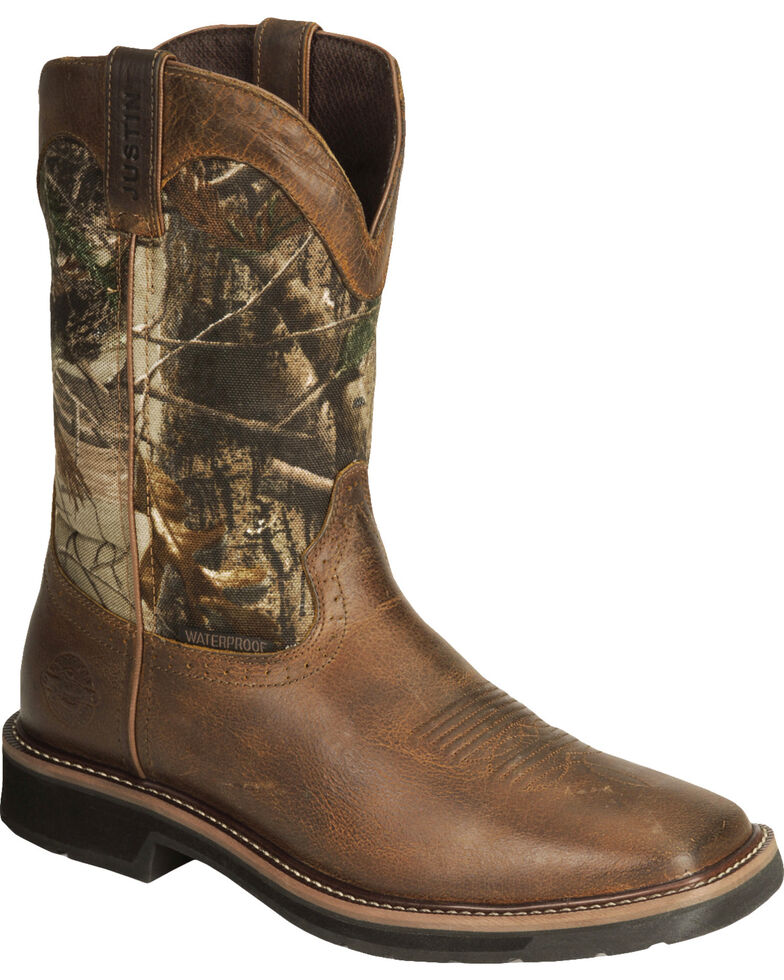 Justin Men S Stampede Camo Waterproof Work Boots Boot Barn