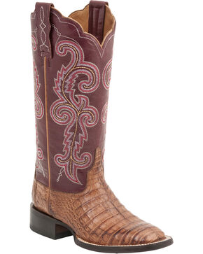 Lucchese Women's Annalyn Exotic Caiman Western Boots, Tan, hi-res