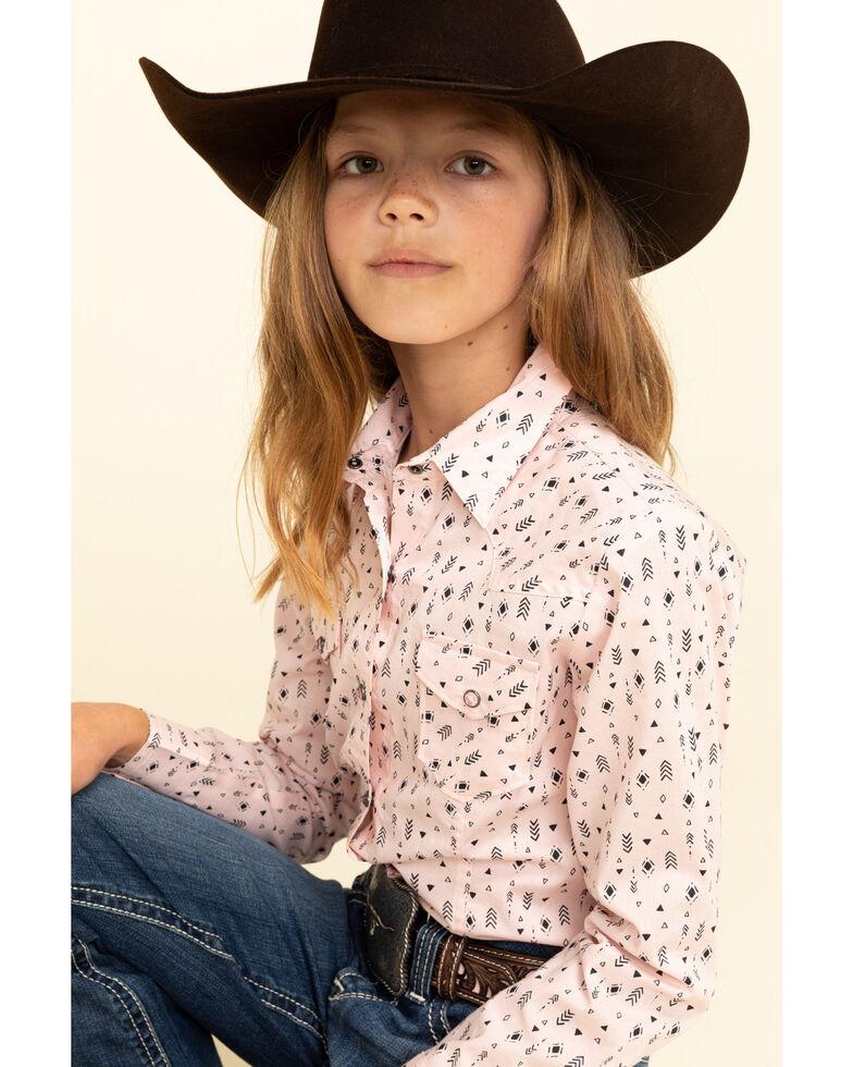 Cruel Girl Girls' Pink Novelty Print Snap Long Sleeve Shirt , Pink, hi-res