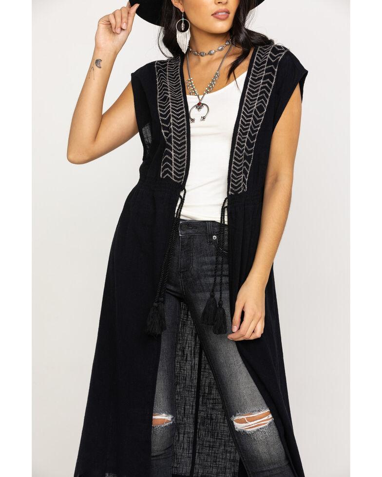 Shyanne Women's Black Embroidered Tie-Up Vest, Black, hi-res