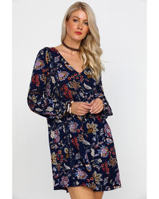 Wrangler Women's Floral Paisley Print Long Sleeve Shift Dress , Navy, hi-res