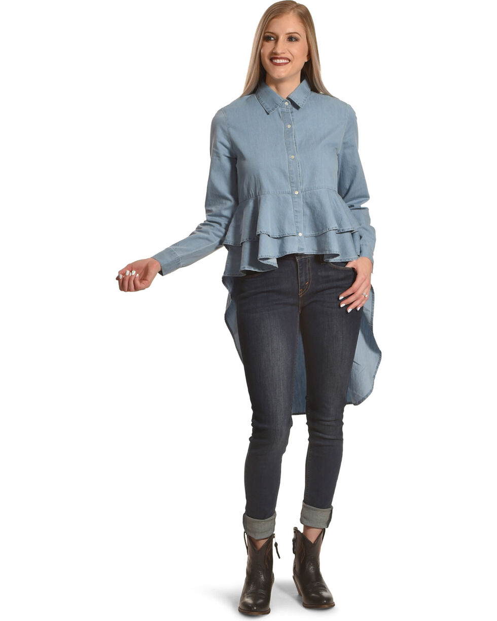 New Direction Sport Women's Indigo High Low Denim Shirt , Indigo, hi-res