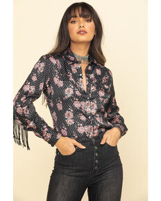 Rock & Roll Cowgirl Women's Floral Dot Fringe Long Sleeve Western Shirt , Black, hi-res