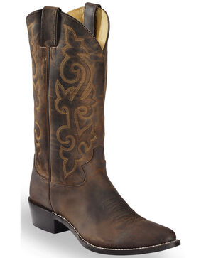 "Justin Men's 13"" Leather Western Boots, Brown, hi-res"
