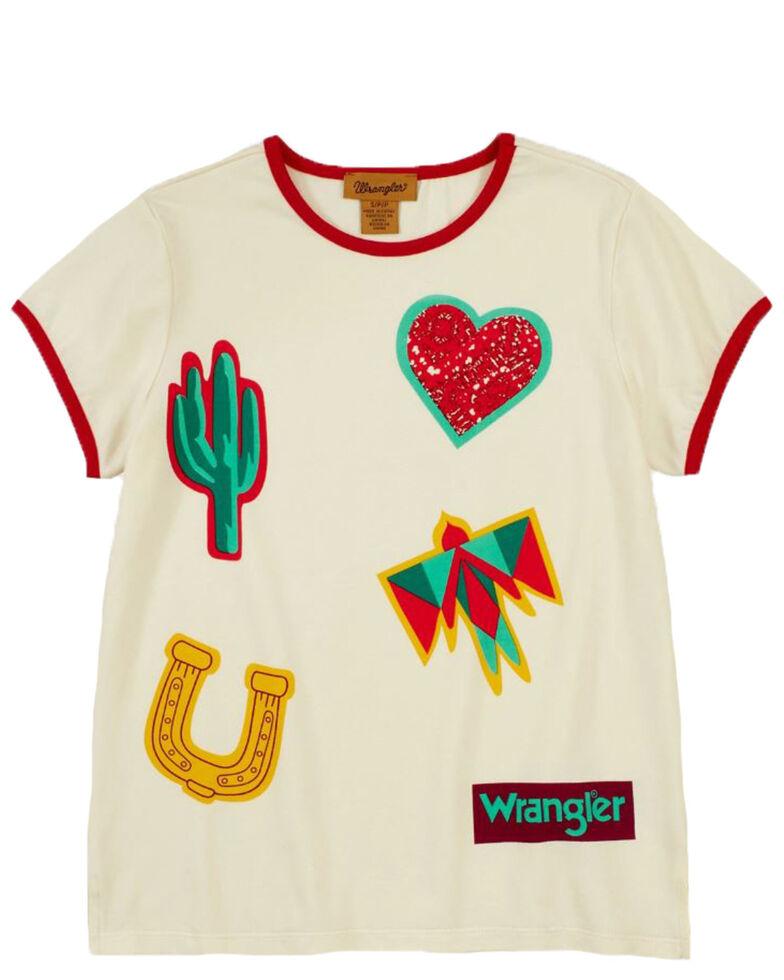 Wrangler Girls' Hearts Horseshoe & Cactus Graphic Short Sleeve Ringer Tee , White, hi-res