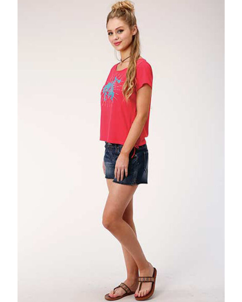 Five Star Women's Red Bronco Graphic Lace-Up Tee, Red, hi-res