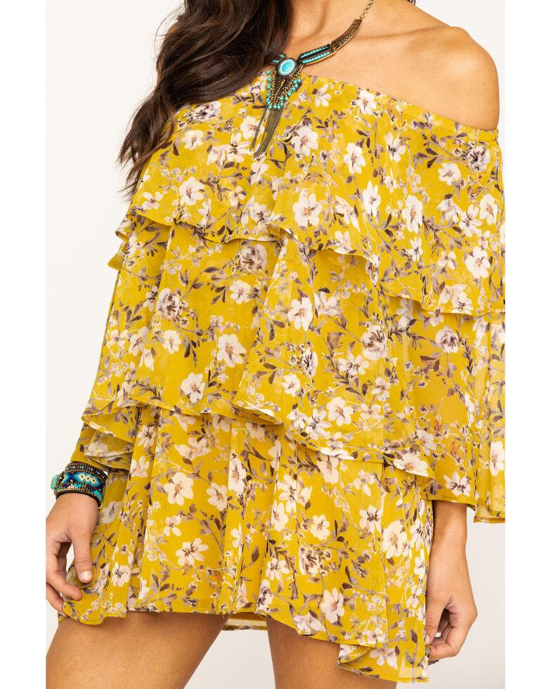 Show Me Your Mumu Women's Flirtin' Floral Triple Decker Romper  , Dark Yellow, hi-res