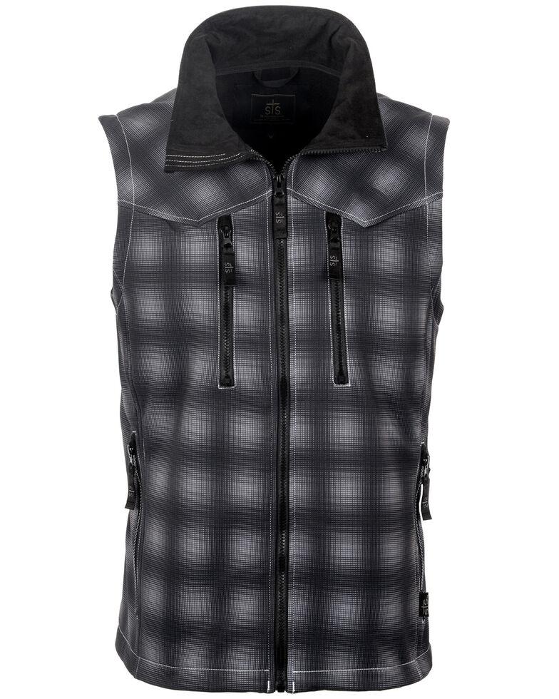 STS Ranchwear Men's Black Plaid Perf Vest , Black, hi-res