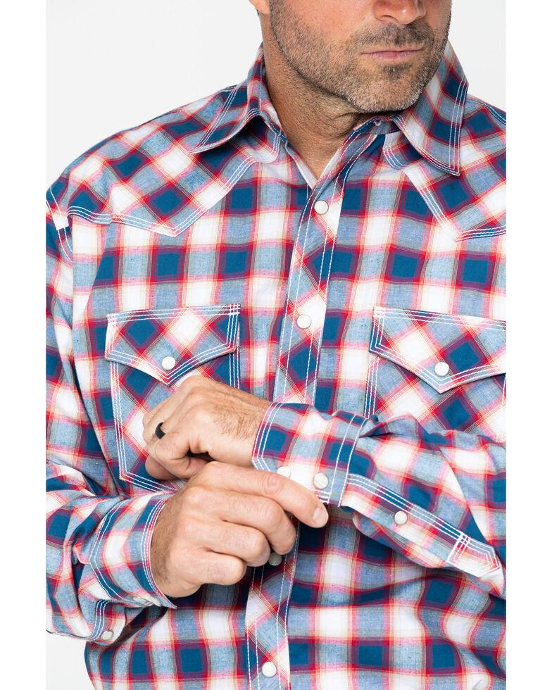 Wrangler 20X Men's Blue Plaid Advanced Comfort Long Sleeve Western Shirt , Blue, hi-res