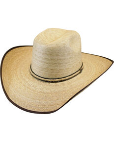 Justin Men's Tan Leverton Mexican Palm Straw Cowboy Hat , Tan, hi-res