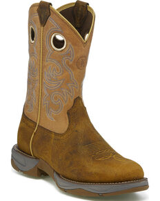 Tony Lama Men's Junction Golden Tan Western Work Boots - Round Toe, Brown, hi-res