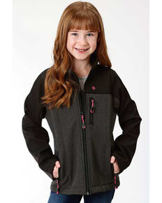 Roper Girls' Grey Contrast Softshell Jacket, Grey, hi-res