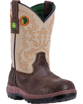 John Deere® Children's Waterproof Western Boots, Coffee, hi-res