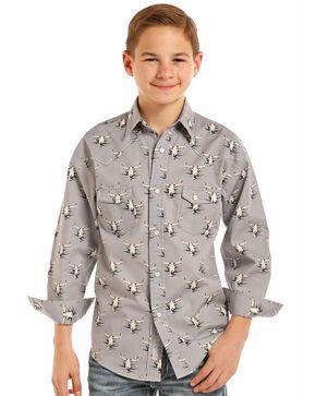 Rock & Roll Cowboy Boy's Longhorn Long Sleeve Western Shirt, Grey, hi-res