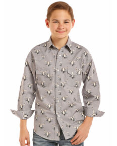 Rock & Roll Cowboy Boy's Longhorn Long Sleeve Western Shirt, Grey, hi-res