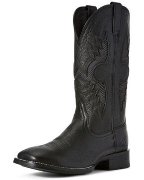Ariat Men's Solado VentTEK Western Boots - Wide Square Toe, Black, hi-res
