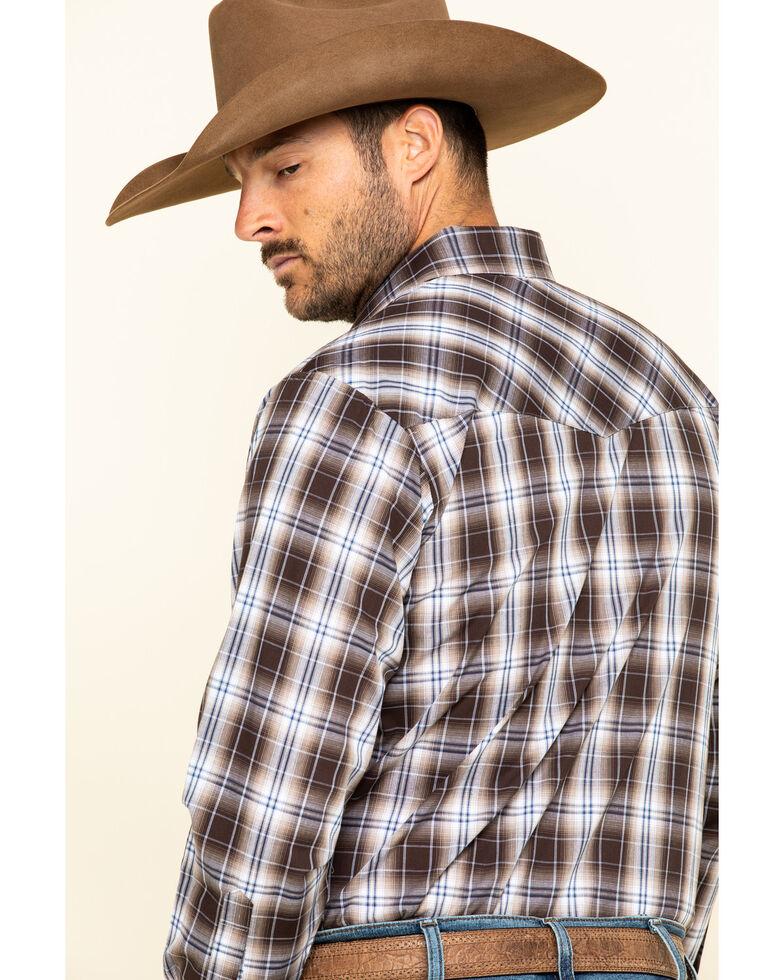 Ely Cattleman Men's Brown Med Plaid Long Sleeve Western Shirt - Big , Brown, hi-res