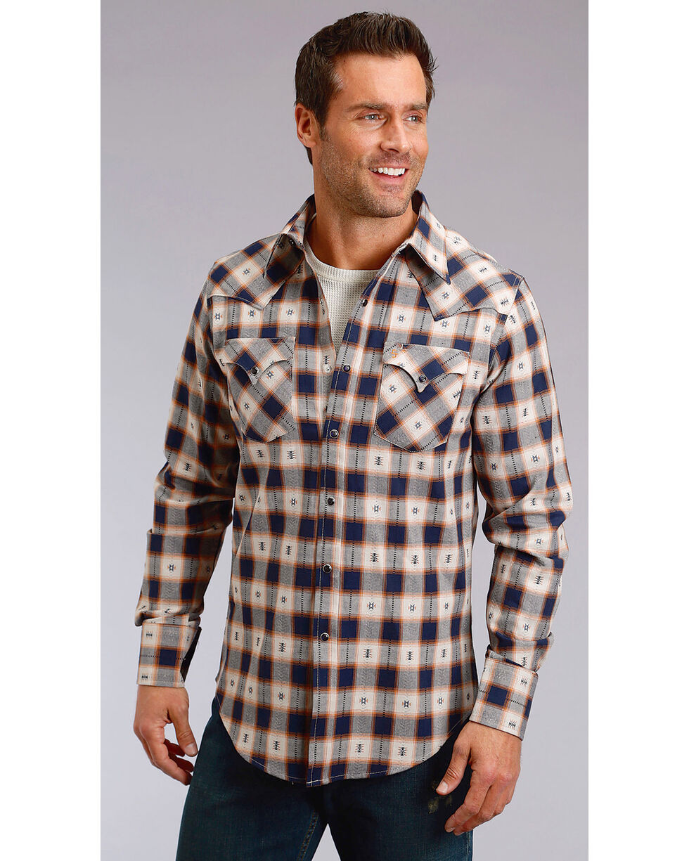 Stetson Men's Modern Fit Dobby Plaid Long Sleeve Snap Shirt - Big & Tall, Blue, hi-res