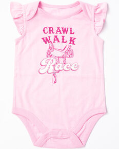 eebff840e Shyanne Infant Girls Crawl Walk Race Ruffle Sleeve Onesie, Pink, hi-res