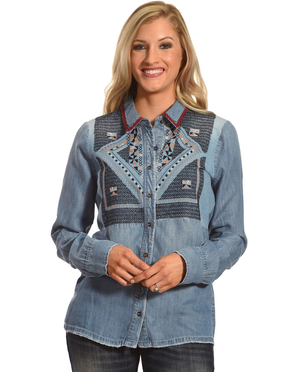MM Vintage Women's Embroidered Denim Shirt, Indigo, hi-res
