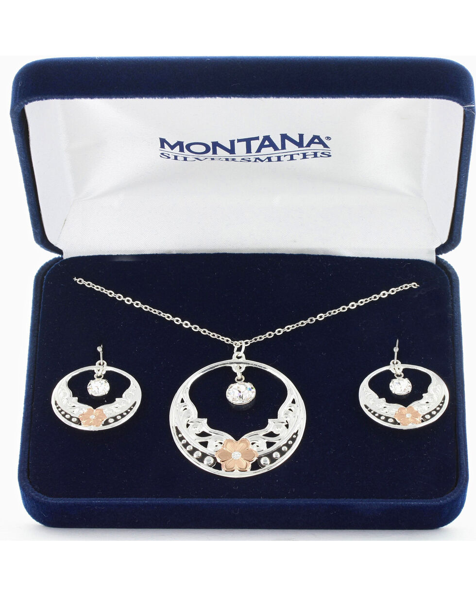 Montana Silversmiths Women's Evening Star's Wild Rose Jewelry Set, No Color, hi-res